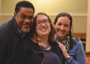 William Penn Lecture speaker Mary Craudereuff (center) with panelists Barry Scott (left) and Becca Bubb (right) after the lecture.