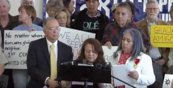Emma Membreno-Sorto sharing a statement at the March 14 press conference held at Albuquerque Meeting. Image from YouTube.